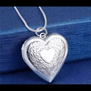 925 Sterling Silver Heart Necklace, Locket Photo P